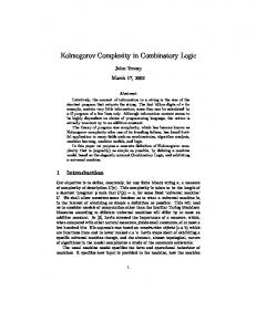 Kolmogorov Complexity in Combinatory Logic - CiteSeerX