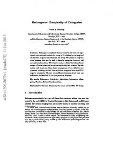 Kolmogorov Complexity of Categories