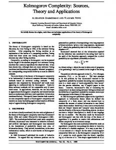 Kolmogorov Complexity: Sources, Theory and ... - Semantic Scholar
