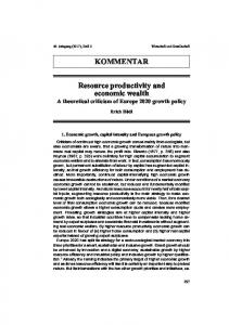 KOMMENTAR Resource productivity and economic wealth