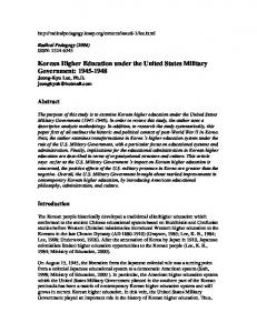 Korean Higher Education under the United States Military ...