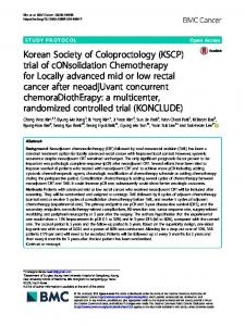 Korean Society of Coloproctology (KSCP) trial of ... - BMC Cancer