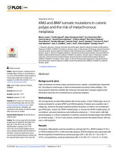 KRAS and BRAF somatic mutations in colonic