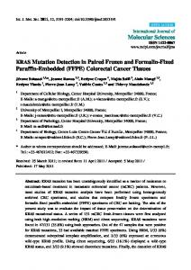 KRAS Mutation Detection in Paired Frozen and Formalin-Fixed ...