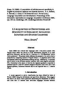 L2 acquisition of definiteness and specificity in English by advanced ...