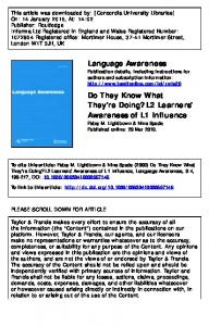 L2 Learners' Awareness of L1 Influence
