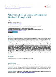 L2 Lexical Development Mediated through ICALL - Scientific