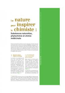 La nature pour inspirer le chimiste : substances ... - Mediachimie.org