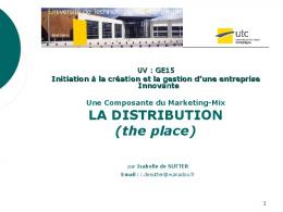 LA VENTE / LA DISTRIBUTION - UTC