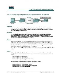 Lab 2.5.2 Configuring an Asynchronous Dialup Connection on the ...