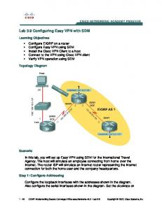 Lab 3.9 Configuring Easy VPN with SDM - Cisco Networking ...