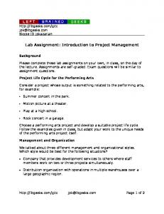 Lab Assignment: Introduction to Project Management - Left Brained ...