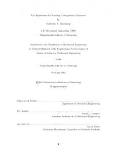 Lab Experiences for Teaching Undergraduate Dynamics by ...
