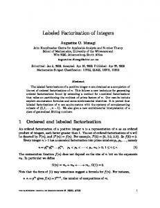 Labeled Factorization of Integers