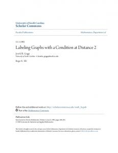 Labeling Graphs with a Condition at Distance 2 - Scholar Commons