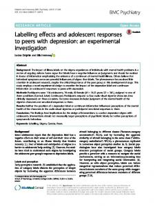 Labelling effects and adolescent responses to peers ... - BMC Psychiatry