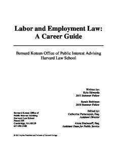 Labor and Employment Law: A Career Guide - Harvard Law School