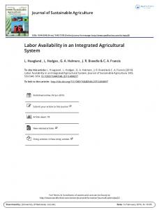 Labor Availability in an Integrated Agricultural System