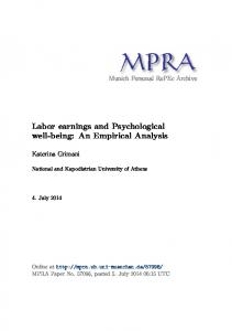 Labor earnings and Psychological well-being - Munich Personal