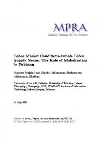 Labor Market Conditions-Female Labor Supply Nexus: The Role of ...
