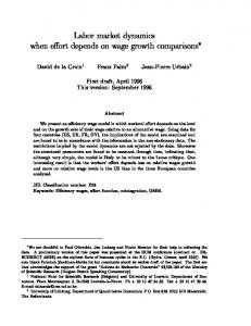 Labor market dynamics when e ort depends on wage growth