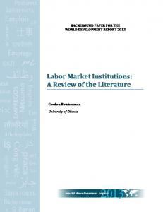 Labor Market Institutions: A Review of the Literature - CiteSeerX