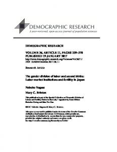 Labor market institutions and fertility in Japan - Demographic Research