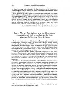 Labor Market Institutions and the Geographic ... - KU ScholarWorks