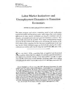 Labor Market Institutions and Unemployment Dynamics in ... - IMF