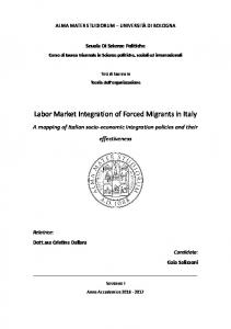 Labor Market Integration of Forced Migrants in Italy