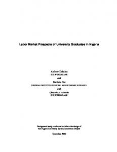 Labor Market Prospects of University Graduates in ... - World Bank Group