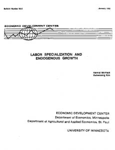 Labor Specialization and Endogenous Growth - AgEcon Search