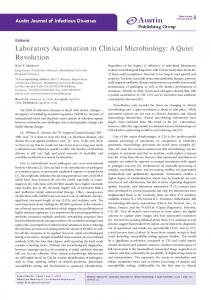 Laboratory Automation in Clinical Microbiology - Austin Publishing