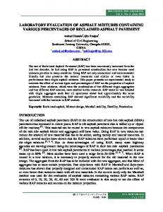 laboratory evaluation of asphalt mixtures containing various
