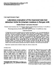 Laboratory evaluation of the improved tube test detection ... - TSpace