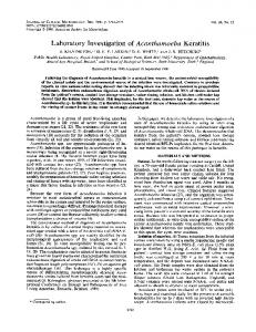 Laboratory investigation of Acanthamoeba keratitis.