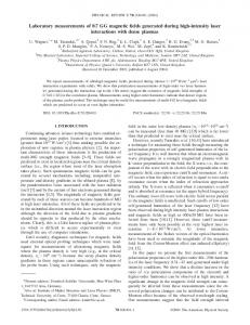 Laboratory measurements of 0.7 GG magnetic ... - APS Link Manager