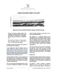 Labour and Employment Law Alert - Watershed LLP