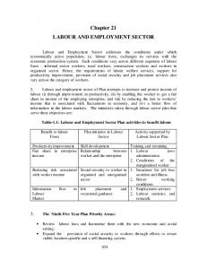 Labour and Employment Sector - of Planning Commission