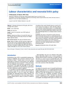 Labour characteristics and neonatal Erb's palsy - Wiley Online Library
