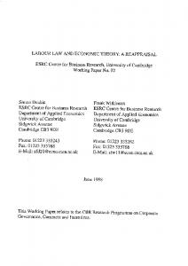 Labour Law & Economic Theory - Centre for Business Research