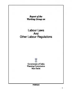 Labour Laws And Other Labour Regulations - of Planning Commission