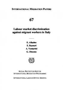 Labour market discrimination against migrant workers in - ILO