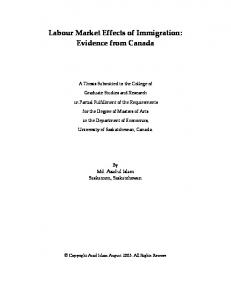 Labour Market Effects of Immigration: Evidence from ... - CiteSeerX