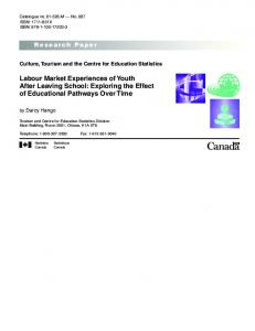 Labour Market Experiences of Youth After Leaving School: Exploring ...