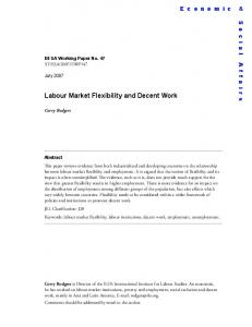 Labour Market Flexibility and Decent Work - the United Nations