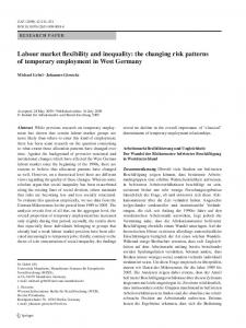 Labour market flexibility and inequality: the changing risk ... - IAB
