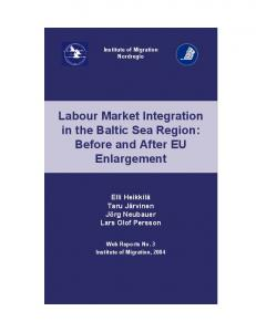 Labour Market Integration in the Baltic Sea Region: Before and After