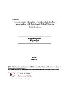 Labour market integration of immigrants in Quebec: a ... - CIRANO