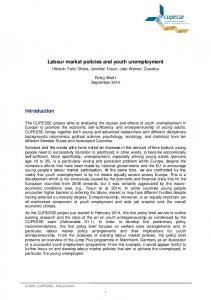 Labour market policies and youth unemployment ... - CUPESSE